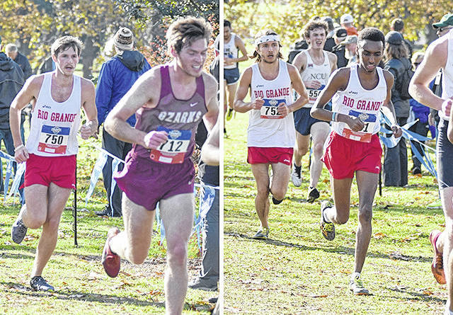 Rio Grande's Kameron Carpenter (far left), River Spicer and Mohamed Farah (right) were part of Saturday's NAIA Men's Cross Country Championship in Fort Vancouver, Wash.