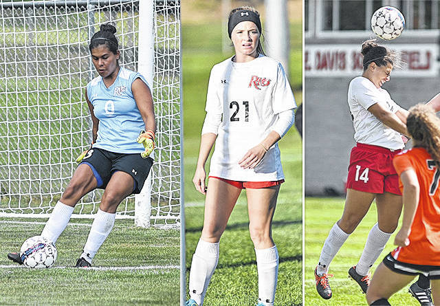 From left, Rio Grande's Andrea Vera, Payten Davis and Jenna Jones were all named to the All-River States Conference Women's Soccer first team on Friday night.