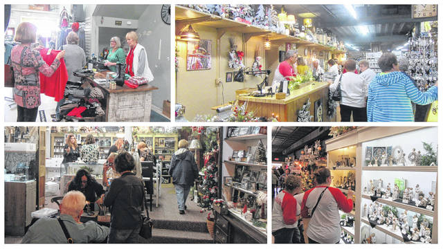Merchants in Pomeroy kicked off the holiday season on Monday with the annual Christmas Open House event at several downtown businesses. Shoppers from around the county and around the region packed into the shops to pick up their holiday decor, Christmas gifts and many other items for the quickly approaching Christmas season. Pictured are shoppers at Weaving Stitches, Hartwell House and Front Paige Outfitters making their holiday purchases.