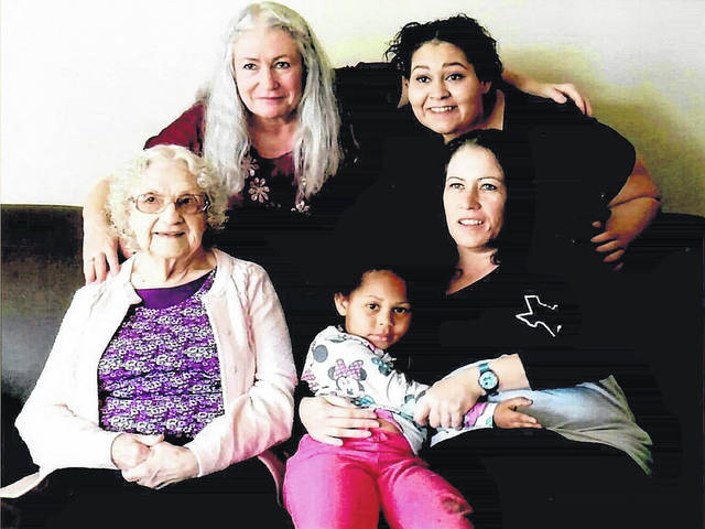 Pictured are five generations of women in the Toni Andrew family. Pictured are Toni Andrew (front left), Mary Ann Rue (back left) Melanie Older (back right)Jessie Joseph (front right) and JaeLiana Older (middle).