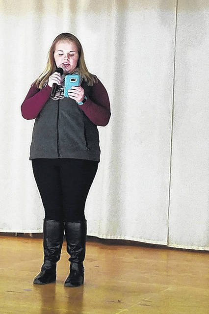 Amber Davidson rehearses for the Riverbend Talent Revue