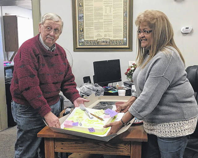 A celebration was held for the retirment of Paul Gerard and Donna Boyd, long-time county employees.