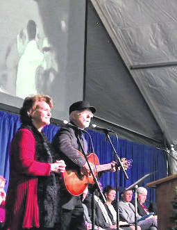 "Steve and Annie Chapman perform ""The Silver Bridge"" at the 50th anniversary observance of the Silver Bridge Collapse earlier this month in Point Pleasant."