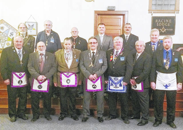 The officers pictured are Jim Hayman – Senior Warden, Larry Ebersbach – Treasurer, Phil Hill – Worshipful Master, Steven Trussell – Installing Officer, Phil Hill – Junior Steward, Guy Bing – Installing Marshall/ District Education Officer, Donald Stivers - Past District Deputy Grand Master/ Installing Chaplain, Fred Crow – Senior Steward, Billy Goble – Junior Deacon, John Epple – Junior Warden, Joe Wood – Secretary, and RWB Steven E. Wallis - District Deputy Grand Master of the Twelfth Masonic District.