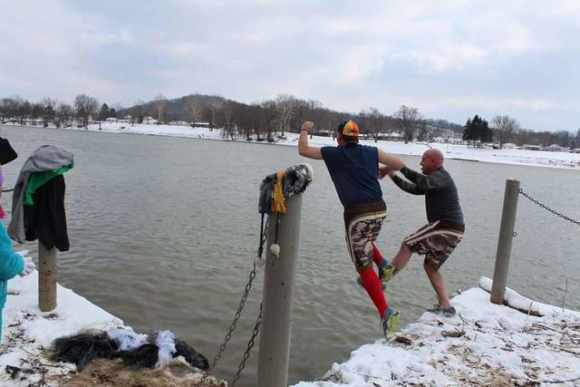 Two participants of last year's polar plunge.