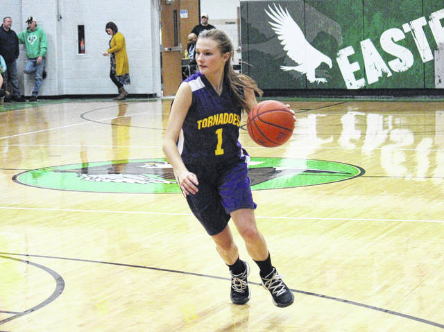 Southern sophomore Phoenix Cleland dribbles left of the key, during the Lady Tornadoes setback at Eastern on Jan. 4 in Tuppers Plains, Ohio.