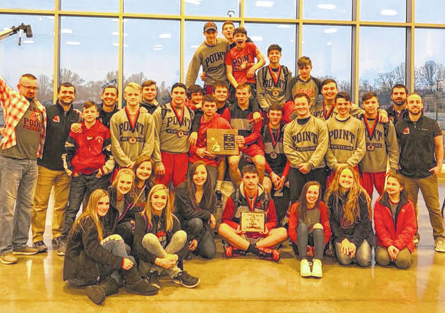 Members of the Point Pleasant varsity wrestling program pose for a picture after winning the 2018 Class AA-A Region IV tournament last Saturday at the Millwood Armory in Millwood, W.Va.