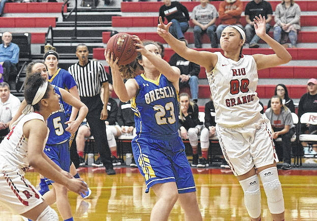 Rio Grande's Sydney Holden battles Brescia's Jayde Robinson for a rebound during Wednesday night's River States Conference Tournament quarterfinal game at the Newt Oliver Arena. Holden had 19 points, 15 rebounds and five assists in the RedStorm's 80-63 win. (Courtesy photo)