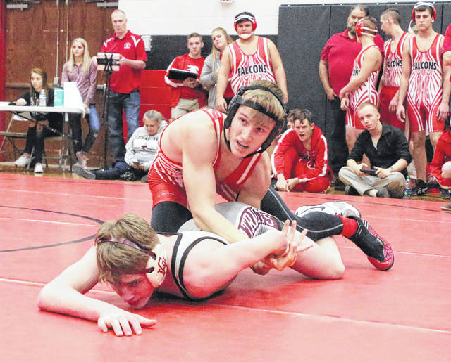 Wahama senior Ethan Herdman locks in a hold a George Washington opponent during a 152-pound match at the 2017 Jason Eades Memorial Duals held at Point Pleasant High School in Point Pleasant, W.Va.