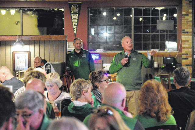 Marshall University Head Football Coach Doc Holliday discusses incoming 2018 players to the team with area fans and alumni.