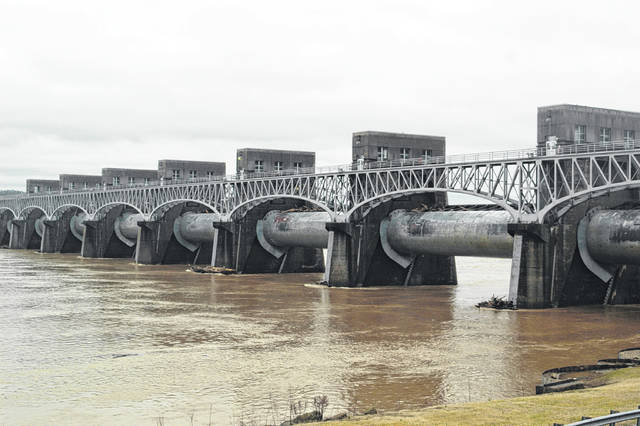 Rising water at the Robert C. Byrd Locks and Dam is pictured on Wednesday.