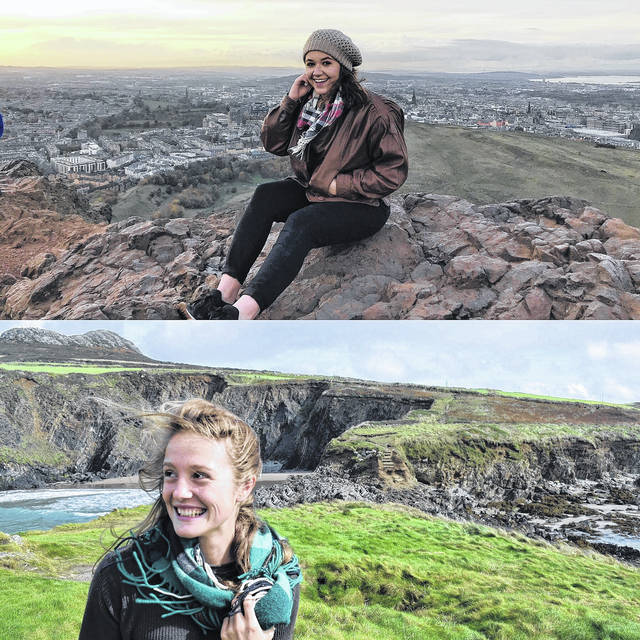 (Top Photo) Katie Oiler with the city skyline on a cultural trip while studying abroad at University of Wales, Trinity St. David. Oiler said she enjoyed studying at Trinity's Camarthen campus and living in the town where her great-grandmother grew up. (Bottom Photo) Rio senior Keri Lawrence explores the Welsh countryside during a cultural trip while studying abroad at University of Wales, Trinity St. David. Lawrence is the first Rio student to study at Trinity's campus in Swansea, Wales.