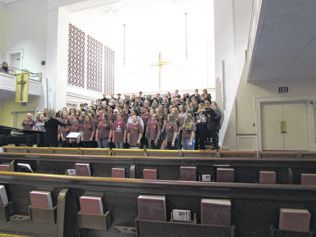 The MMS choir performed at the First Methodist Church in Athens which is a preferred choral venue for Ohio University (OU) Choirs.