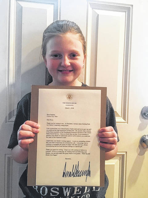 Rose Holdren, Gallia Prosecutor Jason Holdren's oldest daughter and age 9, wrote President Donald Trump a letter last year sharing with him her desire to assist his security detail and her involvement with Holdren's campaign. She recently received a letter back from the president.