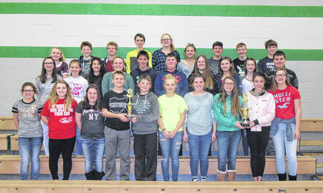 Eastern Middle School Science Olympiad team members from both teams are pictured with their trophies from Saturday's regional competition. Team 1 participants (right side) were Megan Maxon, Baylee Haggy, Cami Jones, Olivia Harris, Emma Epling, Lane Barber, Isaiah Reed, Ethan Short, Jacob Spencer, Jayden Evans, Breanna Nelson, Savannah Barnes, Lilly Suttle, Koen Sellers and Jaylin Stevens.Team 2 participants (left side) were Bryce Newland, Riley Pierce, Ryan Ross, Malachi Martindale, Abby Bauerbach, Tessa Coates, Trent Morrissey, Colton McDaniel, Lindsie Davis, Emma Doczi, Ella Carleton, Juli Durst, Hayley Sanders, Kyra Zuspan and Kendyl Householder. (Jacob Spencer was absent from the photo)