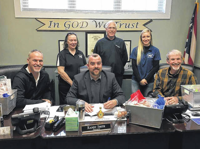 The Athens-Meigs Farm Bureau Board meet with the Meigs County Commissioners on Thursday to present them with baskets of local products and to proclaim National Ag week which takes place March 18-24. Pictured are Farm Bureau Board representatives along with Meigs County Commissioner Mike Bartrum, Randy Smith and Tim Ihle.