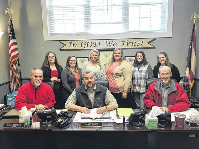 The Meigs County Commissioners issued a proclamation recognizing Social Work Month. Pictured (in front) are commissioners Mike Bartrum, Randy Smith and Tim Ihle; (back) Meigs County Department of Job and Family Services Social Workers Terri Ingels, Vadamae Counts, Jennifer Riffle, Chelsey Imboden, Brooke Pauley and Bethany Bolin.