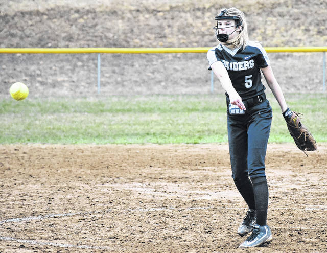 River Valley freshman Sierra Somervile delivers a pitch during the Lady Raiders 8-5 loss to Nelsonville-York on Tuesday night in Bidwell, Ohio.