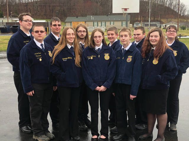 FFA members and officers include (back row, left to right) Ethan Roberts, Colton Hamm, Connar Alkire, Ethan Mullen, Austrin Rice, Mallory Stover; (front row, left to right) Austin Rose, Dominique Wehrung, Cheyenne Wehrung, Tyler Day, Valerie Hamm.