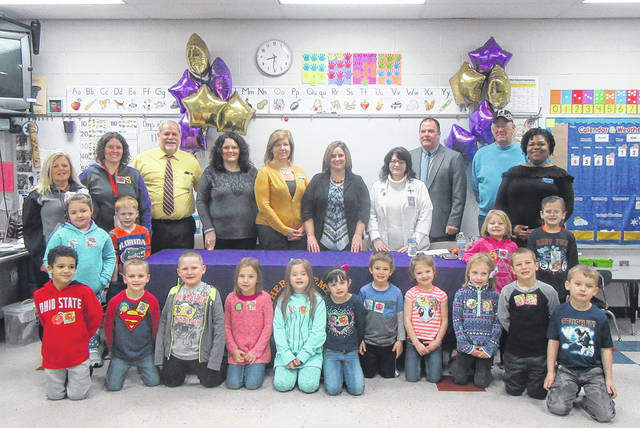 Southern Local administrators, Ohio Education Association representatives and Children's Hunger Alliance representatives joined Rachel Hupp's kindergarten class on Wednesday to kick off the Breakfast in the Classroom grant.