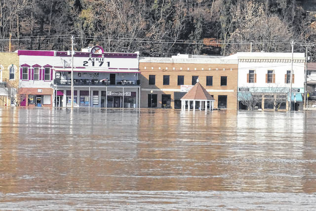 Flood waters caused damage throughout the region in mid-February, including in the downtown Pomeroy area.