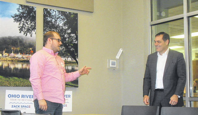 Taylor Sappington, left, speaks at a campaign event last fall for State Auditor candidate Zack Space.