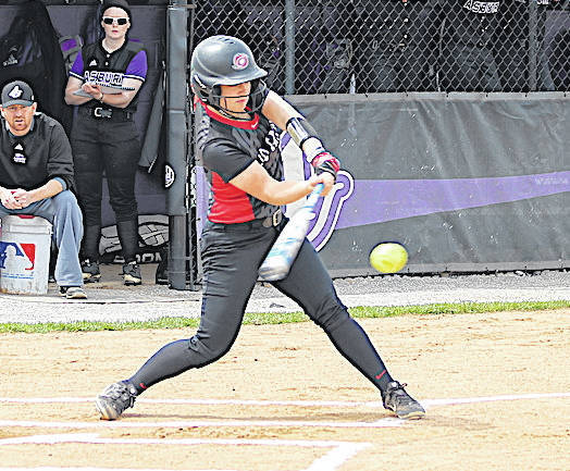 Rio Grande's Michaela Criner had six hits, including three home runs, and drove in 10 runs during the RedStorm's doubleheader sweep of Asbury University on Friday in Wilmore, Ky. The RedStorm won the opener, 17-1 in five innings, and posted a 13-2 triumph in six innings in the nightcap.