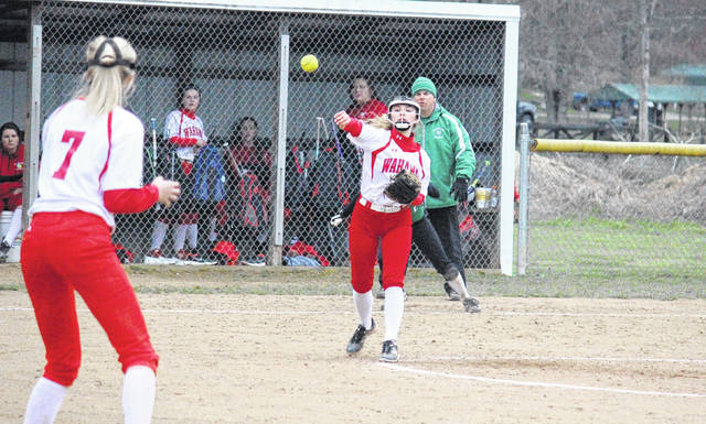 Wahama pitcher Hannah Billups throws to Emma Gibbs at first base during the Lady Falcons' 8-4 win on Tuesday in Hartford, W.Va.