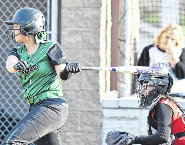 Eastern junior Kelsey Casto drives the ball during game two of the Lady Eagles' doubleheader sweep of South Gallia on Wednesday night in Mercerville, Ohio.