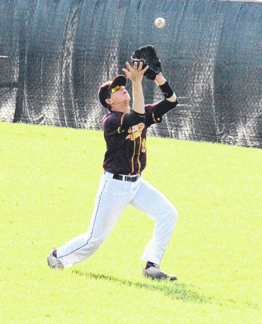 Meigs senior Brentten Young settles under a flyball during the Marauders' 1-0 win over Nelsonville-York on Friday in Rocksprings, Ohio.