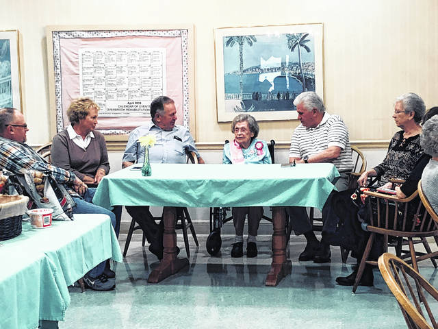 Bernice Riffle, a resident of Overbrook, turned 100 years old on April 16. Riffle, of Meigs County, is the mother of Charles and Ronald Riffle. Her milestone birthday was celebrated with a party at Overbrook where she talked with State Rep. Jay Edwards about how she used to dance.