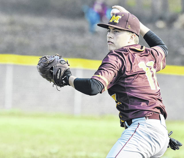 Meigs sophomore Cory Cox attempts a throw during the first inning of the Marauders' 12-1 victory over River Valley on Wednesday night in Bidwell, Ohio.