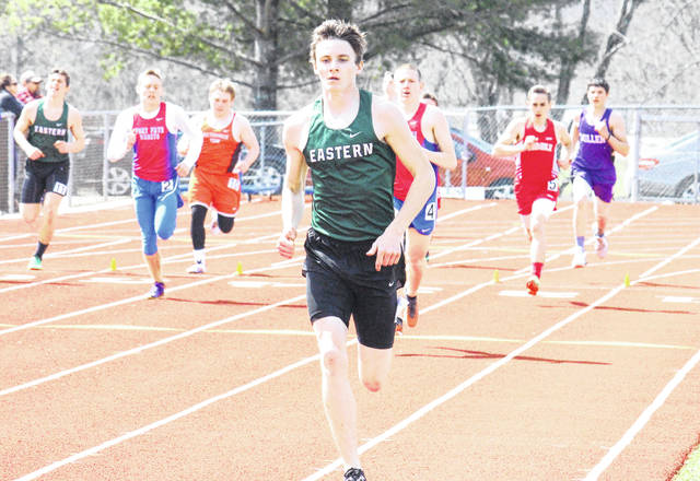 Eastern junior Noah Browning competes in the 800m run at the Rocky Brands Invitational on March 31 in Nelsonville, Ohio.