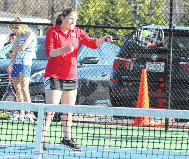 Point Pleasant junior Olivia Martin hits a forehand during a tennis match against Huntington Saint Joseph on April 11 at The Courts in Point Pleasant, W.Va.