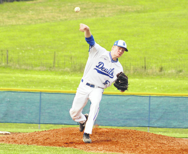 Gallia Academy senior starter Kaden Thomas delivers a pitch during the seventh inning of Thursday night's OVC baseball contest against Coal Grove at Eastman Field in Centenary, Ohio.