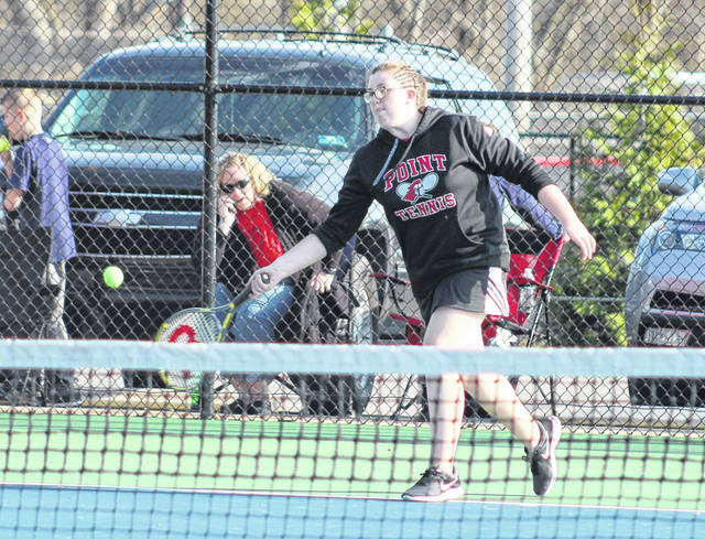 Point Pleasant freshman Grace Teichman hits a forehand return during an April 11 match against Huntington Saint Joseph at The Courts in Point Pleasant, W.Va.