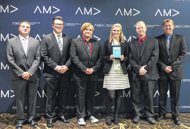 Students from the University of Rio Grande chapter of the AMA attended the International Collegiate Conference in New Orleans where the group won two awards. Pictured left to right are Logan Rosier, Dekota Metzler, Cody Bowen, Ashton Hogan, Professor Wesley Thoene, and Steven Chapman.