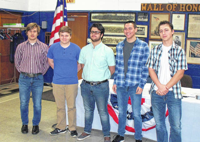 Pictured left to right: Andrew Brooks, EHS, Isaiah Martindale, EHS, Ezra Briles, MHS, Cole Durst, MHS, and Evan Hennington, MHS.