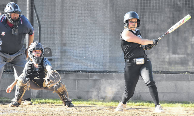 River Valley senior Isabella Mershon (11) drives a solo home run during the Lady Raiders' 5-4 victory over Athens in a Tri-Valley Conference Ohio Division contest on Tuesday in Bidwell, Ohio.