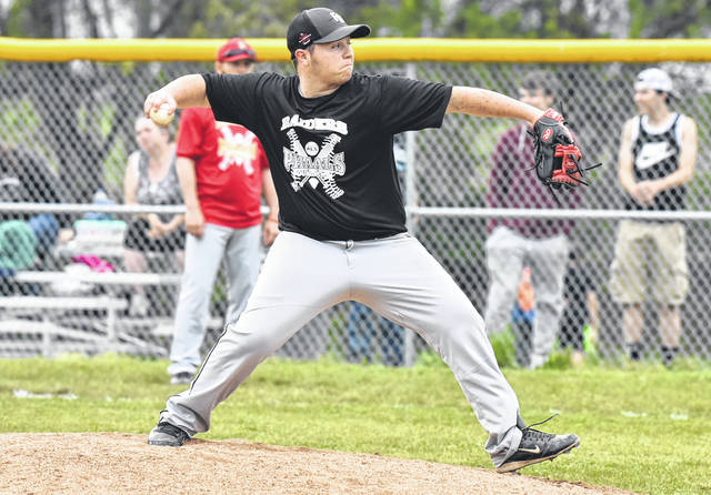 River Valley junior Seth McDonald delivers a pitch during the Raiders' 9-3 victory over South Gallia on Friday night in Bidwell, Ohio.
