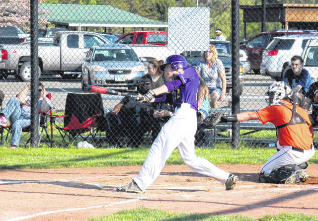 Southern senior Logan Dunn leads off the bottom of the fifth inning with single, during the Tornadoes' 4-2 setback on Tuesday in Racine, Ohio.