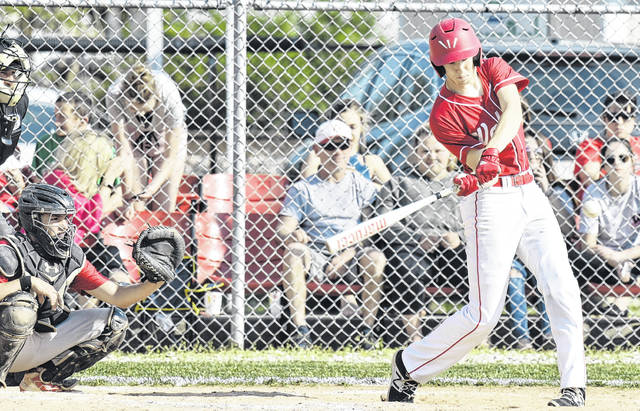 Wahama junior David Hendrick swings at a pitch during the White Falcons' contest against Calhoun County on May 7 in Mason, W.Va.