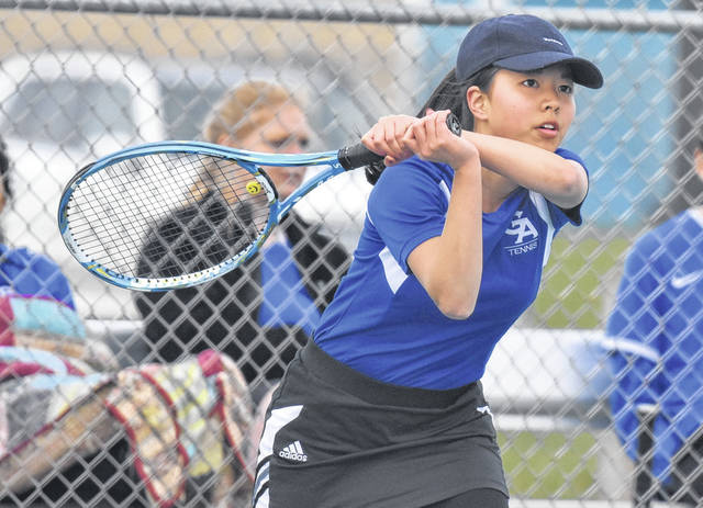 GAHS sophomore Amane Sawamoto returns volley during a match against Jackson on April 5 in Centenary, Ohio.