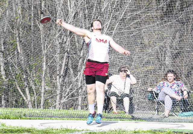 Meigs junior Matthew Jackson competes in the discus throw at the TVC Ohio championships on May 2 in The Plains, Ohio.