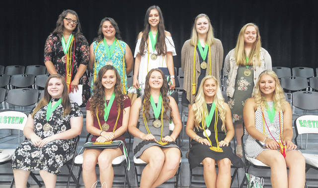 "The ""Top 10"" of the Eastern Class of 2018 are (front from left) Valedictorian Jessica Adams, Salutatorian Kaitlyn Hawk, Morgain Little, Elayna Bissell, Sidney Cook, (back from left) Taylor Carleton, Sophia Carleton, Mattison Finlaw, Madison Kuhn and Abigail Litchfield."