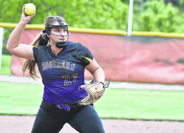 SHS senior Sydney Cleland attempts a throw to first during the sixth inning of the Lady Tornadoes' 6-0 loss to Notre Dame in a Division IV district semifinal softball game on Friday in Rio Grande, Ohio.