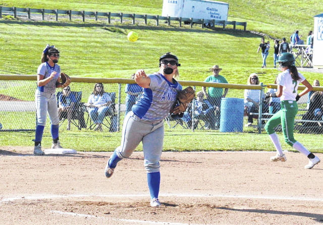 Gallia Academy sophomore Bailey Meadows (center) throws to first base, during the Blue Angels' 18-2 victory over Fairland on Monday in Centenary, Ohio.