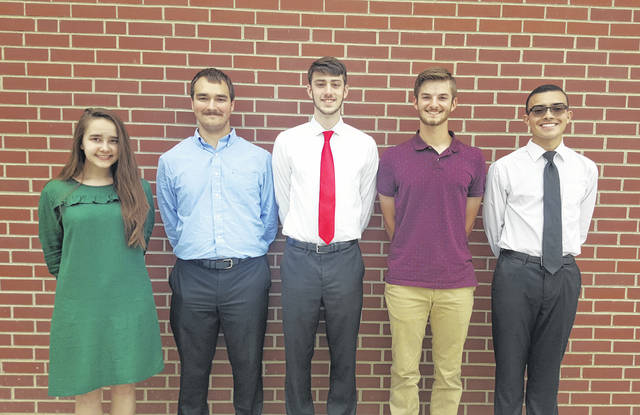 Savannah Hope Diehl, Salutatorian, is pictured alongside Meigs High School's four Valedictorians (from left) Cole Hoffman, Brad Logan, Bryce Swatzel and Gregory Sheets II.