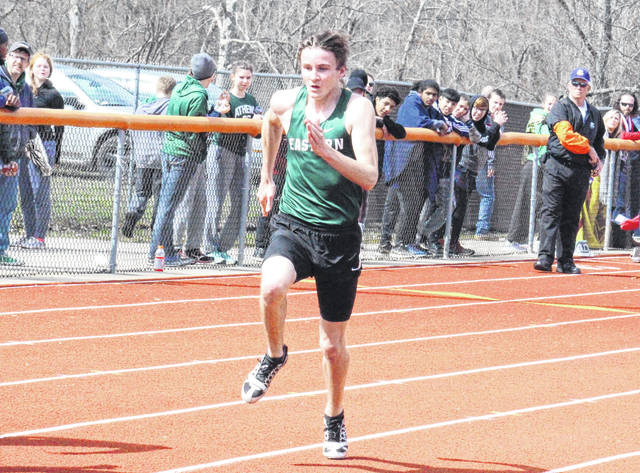 Eastern's Noah Browning competes in the 100m dash at the Rocky Brands Invitational on March 31 in Nelsonville, Ohio.