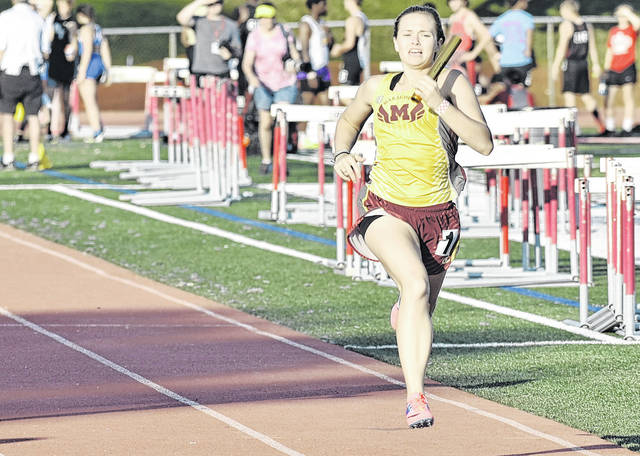 Meigs junior Taylor Swartz sprints toward the finish during the 4x200-meter relay event at the Division II Region 7 regional meet on May 24 in New Concord, Ohio.